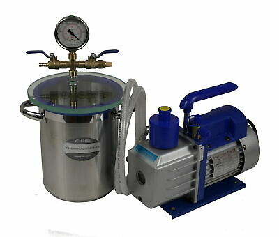 Set for wood stabilizing vacuum chamber 4.2l + dual stage vacuum pump 71l/min