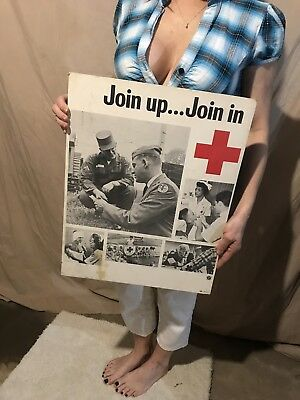 Vintage Red Cross Army Advertising Sign
