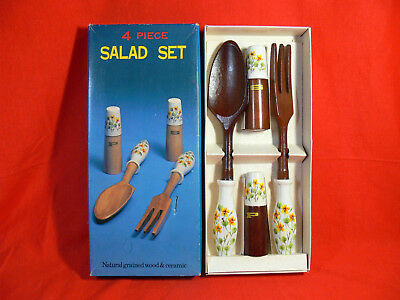 Vintage 4PCE SALAD SET Woodgrain with Ceramic Handles MADE IN JAPAN Retro 70's