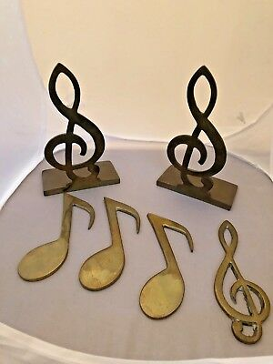 Vintage Brass Metal MUSICAL NOTE Book Ends-bookends and 4 MUSIC notes