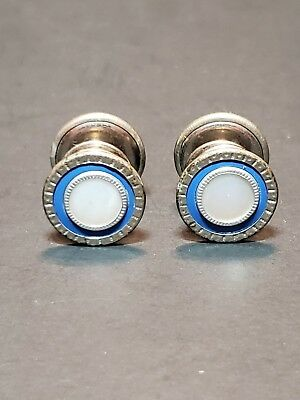 Vintage Antique Art Deco Double Panel Snap Cufflinks Mother Of Pearl Lapis Nice