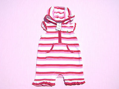 8da49c5449 baby gap girls size 0-3 months hooded terry cloth one piece romper nwt  striped