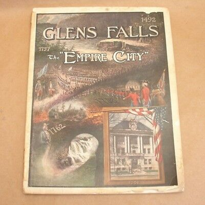 LARGE Antique 1908 Glens Falls,NY The Empire City Souvenir View Book,Photos,Vtg
