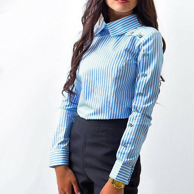 Striped Turn-down Collar Shirts Female Long Sleeve Loose Shirts Button Blouse G