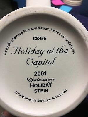 """2001 Budweiser """"Holiday at the Capitol"""" Holiday Stein CS455"""