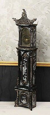 """MUSEUM QUALITY DOLLHOUSE FURNITURE 1:12 or 1"""" Scale Black Gold Grandfather Clock"""