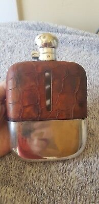 Crocodile skin and silver hip flask Sheffield silver hallmarked circa 1910-1920