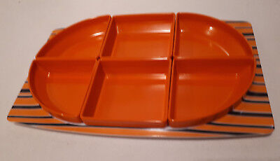 Vintage retro 70s ORANGE Bessemer Europa Serving Tray/Bowls melamine nibblies