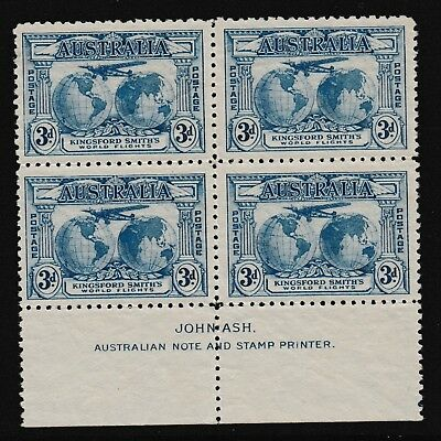 Pre Decimal,Australia,1931 Kingsford Smith,3d Blue,Blk of 4,Imprint,MH,#2002