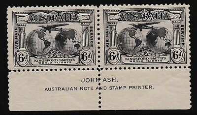 Pre Decimal,Australia,1931 Kingsford Smith,6d Violet,MH,Selvege only,Pair,#2004