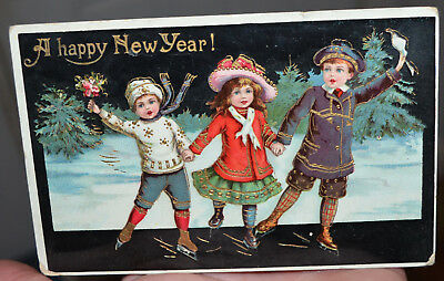 Vintage Gold Embossed 1913 A Happy New Year Christmas Postcard
