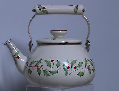Holiday Holly Berry Metal Enamel Tea Kettle Ceramic Handle New made in Japan