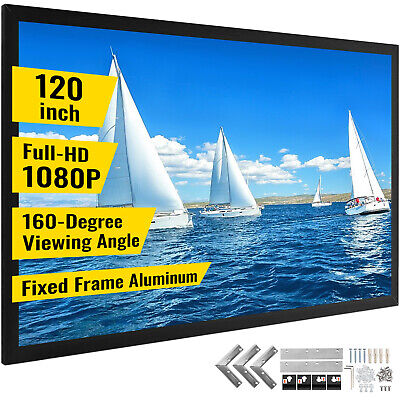 "120"" Inch Projector Screen Fixed Aluminum Frame Home Theatre HD TV Projection 3D"