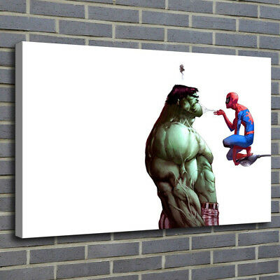 Funny Hulk And Spiderman Painting HD Print on Canvas Home Decor Wall Art Picture