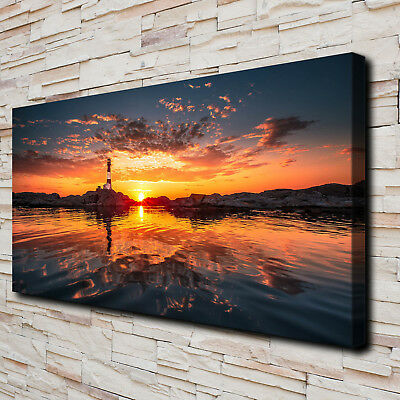 "Sunset Lighthouse HD Canvas Print 24""x48"" Home Decor Paintings Wall Art Picture"
