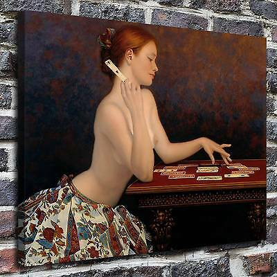 The girl behind the solitaire Painting HD Print on Canvas Home Decor Art Picture