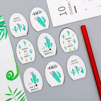 4Pcs/pack Green Cactus Magnet Bookmark Paper Clip School Office Supply Gift