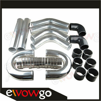 "UK 3"" Inch Universal Aluminum Turbo Intercooler Piping Kit Pipes Clamp Coupler"