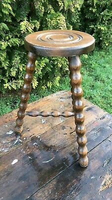 Fantastic Vintage Bobbin Turned Hand Made  Wooden Three Legs Stool *