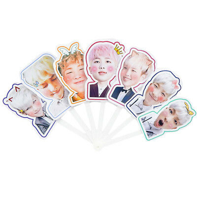 Kpop BTS Bangtan Boys Folding Cute Mini Hand Fan Portable Fans Gift RAP MONSTER