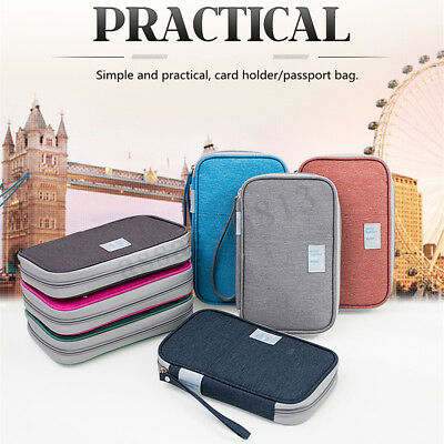 Unisex Travel Card Passport Storage Bag Documents Cash Wallet Organizer Holder