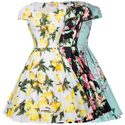 Dress Floral Swing Cocktail Evening Homecoming Retro Cap Sleeve Party Vintage