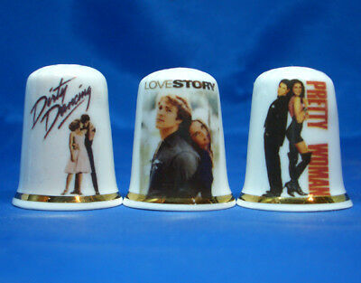 Birchcroft Porcelain China Thimbles - Set Of Three Love Story Film Posters