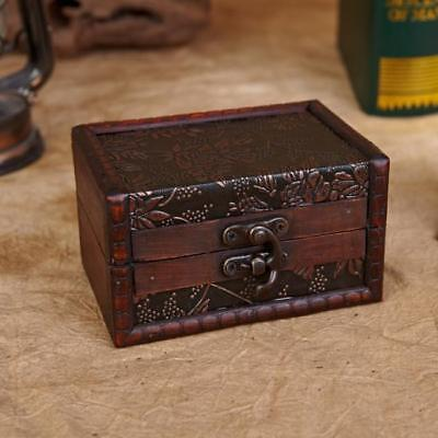Vintage Wooden Pirate Treasure Trinket Chest Jewellery Storage Box Case Gift FI