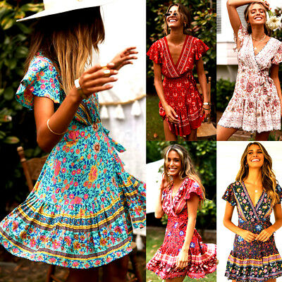 AU Women Short Sleeve Wrap Boho Floral Mini Dress Ladies Summer Sundress Holiday