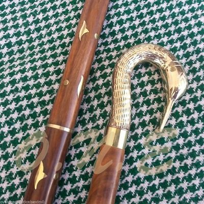 Men's Antique Style Brass Swan Handle Designer Walking Cane Wooden Vintage Gift