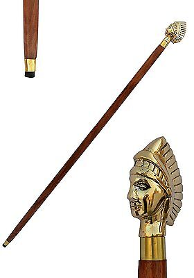 Walking Stick Cane Queen Face Head Style Brass Plated Brass Handle