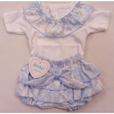 Baby Girls Spanish Style Cotton Sky Blue Bow Frilly Jam Pants & White Top