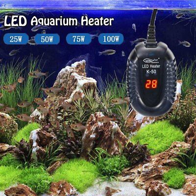 LED Aquarium Mini Submersible Fish Tank Adjustable Water Heater Thermostat Gauge