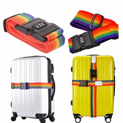 Adjustable Suitcase Luggage Baggage Straps Combination Lock Belt Tie Down Travel