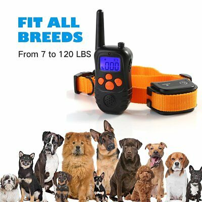 Rechargeable Electric Remote Dog Training Shock Collar 300 Yard Waterproof LCD