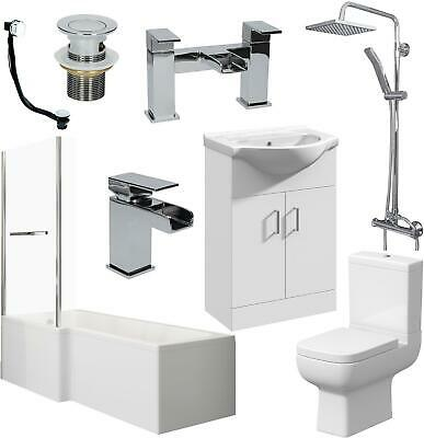 Bathroom Suite L Shape LH/RH Bath Screen Panel Toilet Basin Sink Shower Taps Set