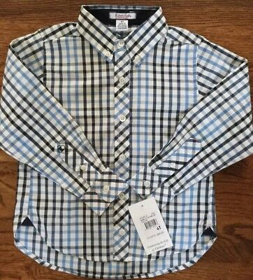 NWT Boys size 4T Kitestrings by Hartstrings Blue Plaid Long Sleeve MSRP $44.00