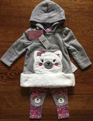 Nwt Nannette Two Piece Set Girls Size 12 Months Hoodie & Leggings Msrp $34.00