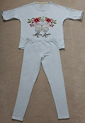"Next Girls Blue & Floral Embroidery 3/4 Sleeves ""Mon Amie"" Pyjama Set 12 Years"