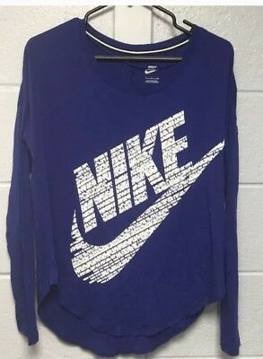 06ce1f56425c53 Nike Womens Sz S Signal Long Sleeve Shirt Blue White Nike Logo Tee T-Shirt