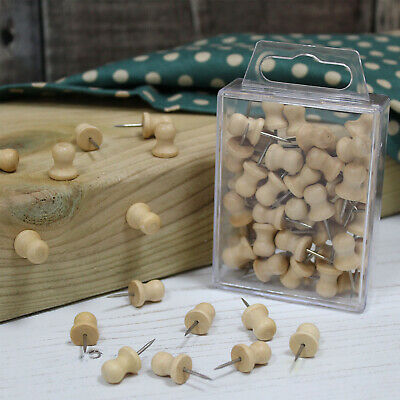 Wooden Push Pins Natural Wood Coloured Art Craft & Cork Notice Boards in Cases