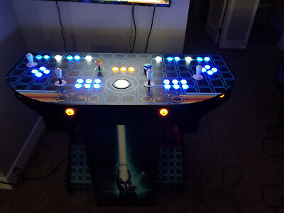 Tron Themed Pedestal Arcade Machine w/ upgraded fight sticks and components