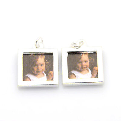 20pc Square Photo Frames Alloy Locket Pendants Frame Charm Silver 17x21mm