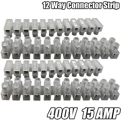 12 Way Connector Strip Choc Block Terminal Electrical 15Amp Connection Flat Head