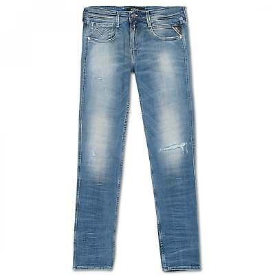 Replay Blue Anbass Slim Fit Jean with Ripped Leg Design M914-661-116-007 Anbass