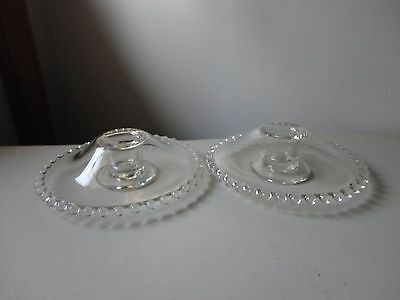 2 Candlewick Domed Candle Holders By Imperial Glass