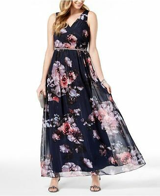 a5b974d7f78df $360 S.l. Fashions Womens Blue Pink Floral Sleeveless Beaded Gown Dress Size  16