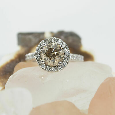 3.1 Ct Champagne Brown Halo Ring with White Diamond Surrounding Enhanced