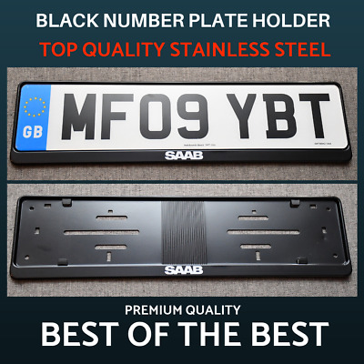 1 x Luxury Black Stainless Steel Number Plate Holder Surround Frame for Saab !