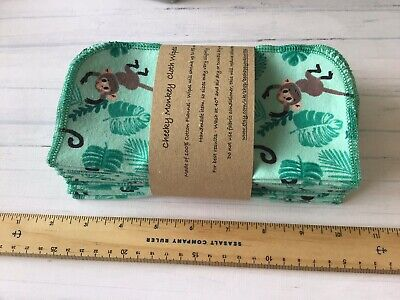 30 Cheeky Monkey Flannel Cotton Baby Wipes Family Cloth Reusable Washable 19cm